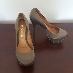 L.A.M.B. Satin Vero Cuoio Platform Heels